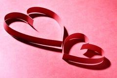 两纸心脏 图库摄影