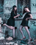 两美丽的妇女看见了头发 免版税图库摄影