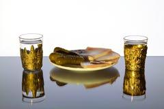 两美丽的杯伏特加酒用猪油和黄瓜在板材 免版税库存图片