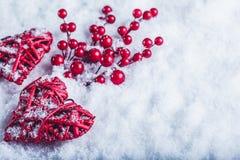 两美丽的葡萄酒红色心脏用在白色雪背景的槲寄生莓果 圣诞节、爱和圣情人节概念 库存照片
