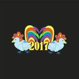 两美丽的雄鸡- 2017年的标志 invitation new year 愉快的n 图库摄影