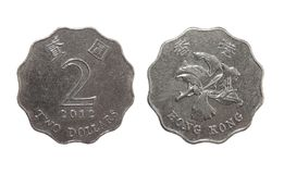 两美元硬币香港 免版税库存照片