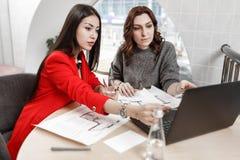 两美女研究一个新的项目在一个时髦的办公室的室内设计师 免版税图库摄影