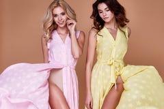两美好的性感的俏丽的女服时尚给长的礼服穿衣 库存照片