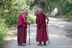 两老西藏和尚在达兰萨拉,印度 图库摄影