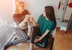 两聊天在咖啡店的少妇 一起享用咖啡的两个朋友 免版税库存图片