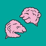 两脑子当文本泡影 免版税库存照片