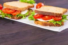 两自创三明治用鸡蛋、沙拉和蕃茄 免版税库存图片