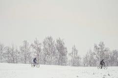 两自行车骑士 免版税库存图片