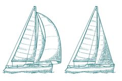 两航行的游艇 风船 传染媒介得出的平的例证 皇族释放例证