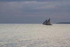 两艘单桅三角帆船 免版税图库摄影
