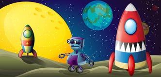 两艘太空飞船和一个紫色机器人在outerspace 图库摄影