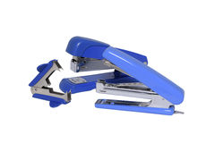 两蓝色订书机和钉书针去膜剂 库存图片