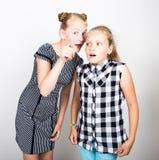 两表现出逗人喜爱的矮小的女朋友不同的情感 滑稽的孩子 最好的朋友纵容和摆在 免版税图库摄影
