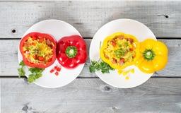 两被充塞的加调料的口利左香肠肉菜饭 免版税图库摄影