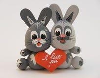 两被迷恋的兔子 库存图片