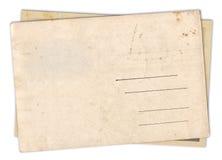 两被隔绝的空白的老葡萄酒明信片 免版税库存图片