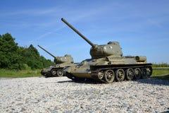 两辆俄国坦克T 34 免版税库存图片
