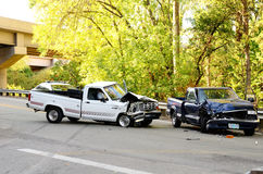 两辆卡车击毁 免版税库存照片