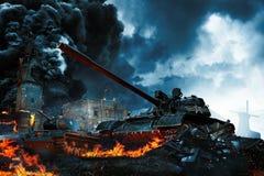 两辆坦克在冲突区域 库存照片