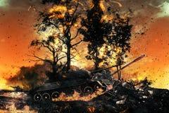 两辆坦克在被烧的森林里 免版税库存图片