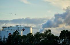 两辆工业燃料贮存坦克早晨点燃 免版税库存照片