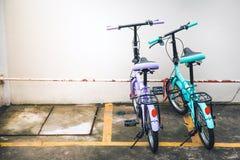两辆自行车停放在停车处 图库摄影