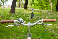两辆自行车在一个绿色草甸 图库摄影