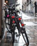 两辆自行车在雨中 免版税库存图片