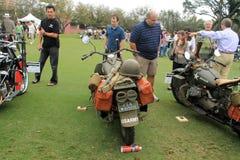 两辆葡萄酒美国军用摩托车 库存图片