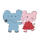 两逗人喜爱的大象男孩和女孩跳舞 图库摄影