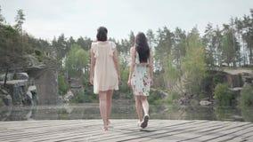 两逗人喜爱的年轻女人穿站立在岩石上面和看自然的令人惊讶的看法夏天礼服 俏丽的女孩 股票录像