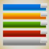 两部分横幅,有相交的长方形的按钮 5种颜色 图库摄影