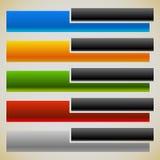 两部分横幅,有相交的长方形的按钮 5种颜色 库存图片