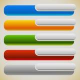 两部分横幅,有相交的长方形的按钮 5种颜色 免版税库存图片