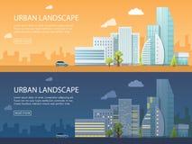 两都市风景的网横幅现代传染媒介例证与大厦、商店和商店,运输的 平的城市 免版税图库摄影