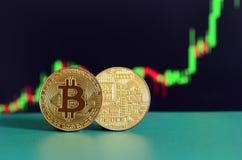 两金bitcoins说谎在背景的绿色表面上  免版税图库摄影