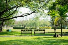 两长凳在公园里 免版税库存照片