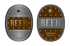 两长圆形啤酒标签 库存图片
