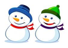两雪人Smilling 免版税库存照片
