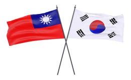 两面横渡的旗子 图库摄影