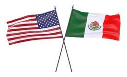 两面横渡的旗子 免版税图库摄影