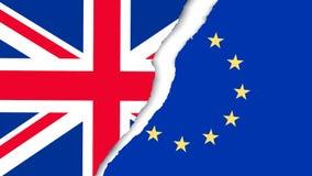 两面被撕毁的旗子-欧盟和英国 Brexit概念 库存照片