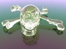 两骨交叉图形玻璃头骨 免版税库存照片