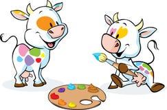 两头原始的母牛绘了在他们的身体-滑稽的传染媒介的斑点 免版税库存照片