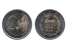 两从圣马力诺的欧元(EUR)硬币 免版税图库摄影
