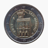 两从圣马力诺的欧元EUR硬币 库存照片