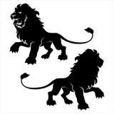 两头狮子形象标志 库存照片