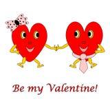 两滑稽的动画片心脏。一个男人和一名妇女lov的 库存照片