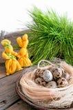 两黄色复活节兔子用巢和蛋鹌鹑 库存图片
